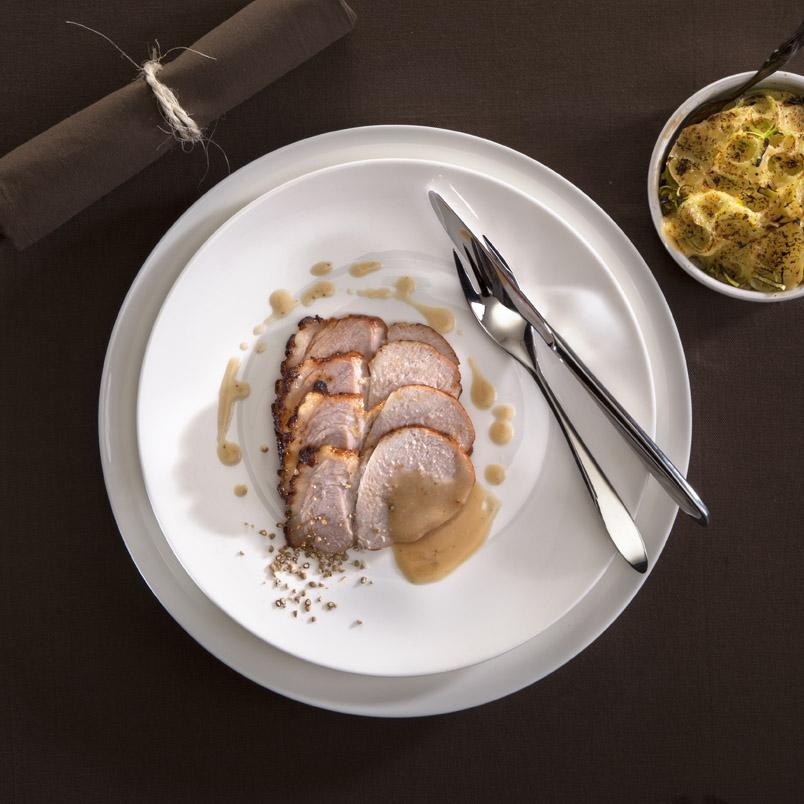 Fricandeau met aardappel-prei schotel